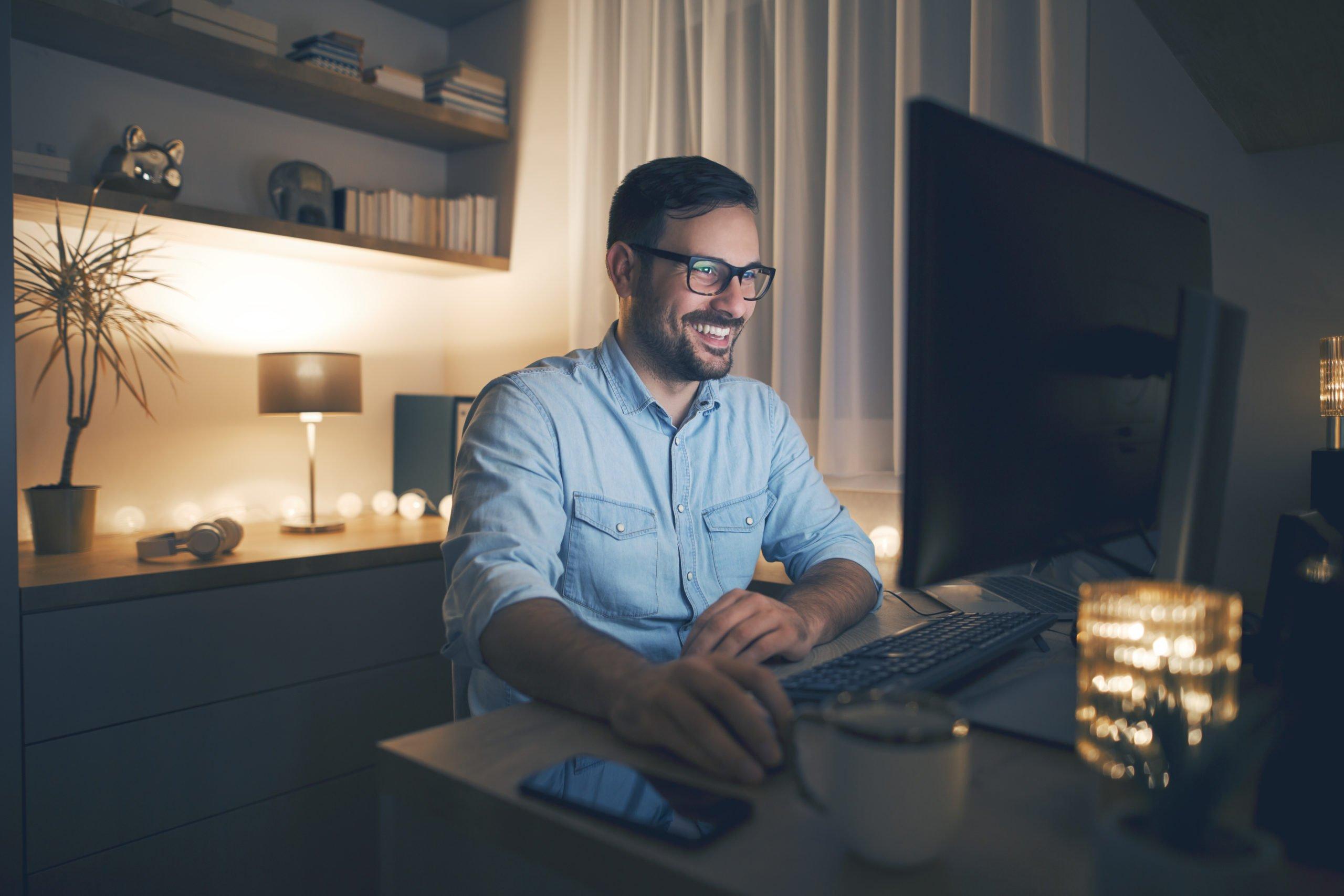 praca, komputer, gry, dom, technologia